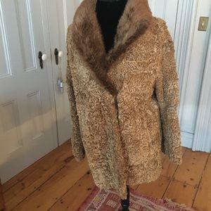 Jackets & Blazers - Vintage Lambswool Mink Collar Coat